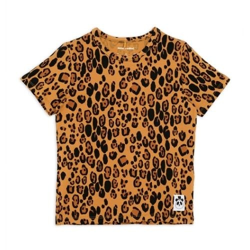 Mini Rodini Basic leopard short sleeve tee Beige (shirt)-1