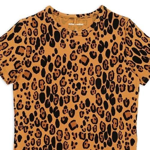Mini Rodini Basic leopard short sleeve tee Beige (shirt)-2