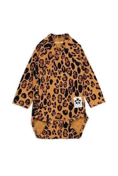 Mini Rodini Basic leopard wrap body Beige (romper)