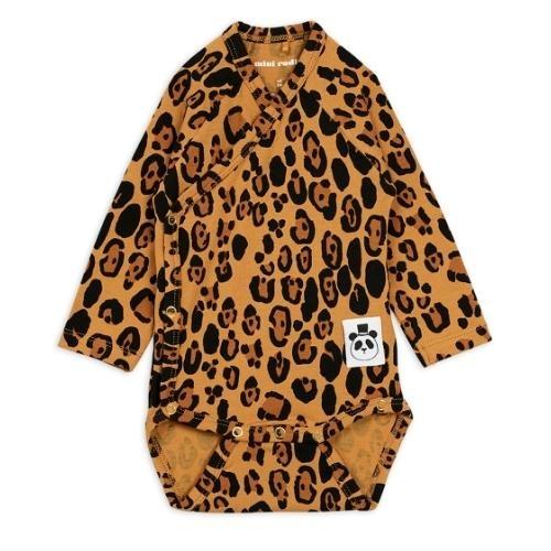 Mini Rodini Basic leopard wrap body Beige (romper)-1