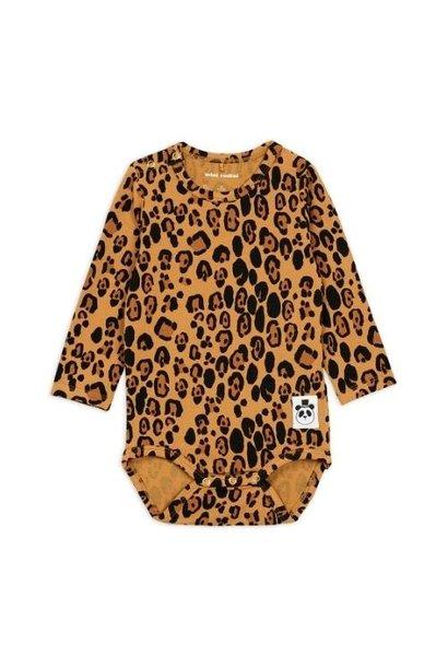 Mini Rodini Basic leopard long sleeve body Beige (romper)