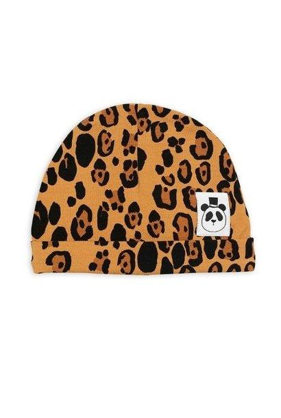 Mini Rodini Basic leopard baby beanie Beige (muts)