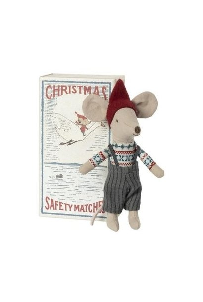 Maileg Christmas mouse in matchbox, Big brother (muis)