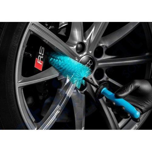 ValetPro Velgreiniging borstel /  Twisted Wire Wheel Brush - Velgen borstel blauw conisch met licht getordeerde borstelharen