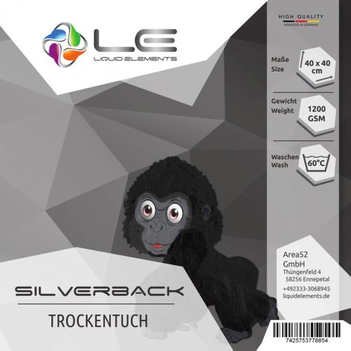 Liquid Elements Droogdoek Microfiber Liquid Elements Silver back XL 1200 gr/m2 50x80 cm