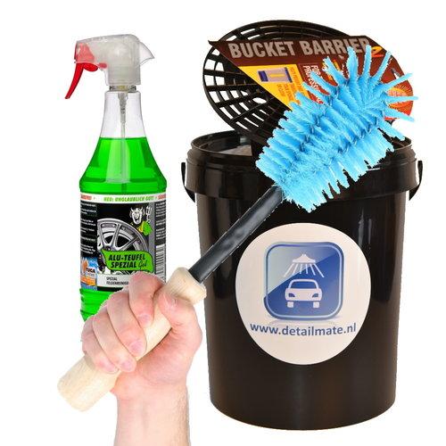 Tuga Chemie Tuga Aluteufel speciaal 1 Ltr met handige velgenborstel  en 15 Ltr wasemmer met deksel en grit.