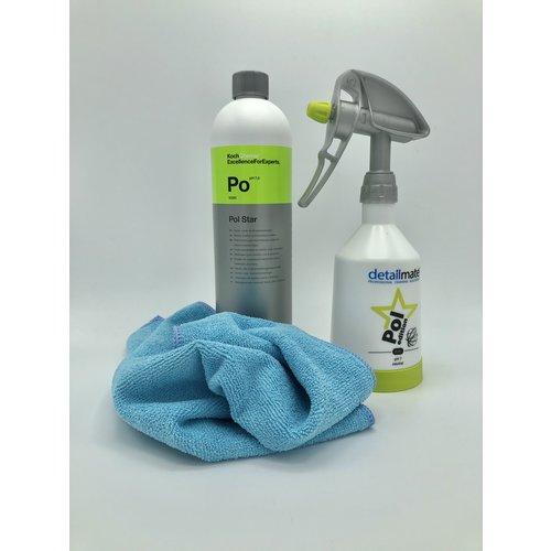 Koch Chemie Textiel, Alcantara en leerreiniging. Koch Chemie Po Star 1 Ltr met zeer handige Kwazar 0,5 Ltr 360 graden Sprayer en micofiber doekje.