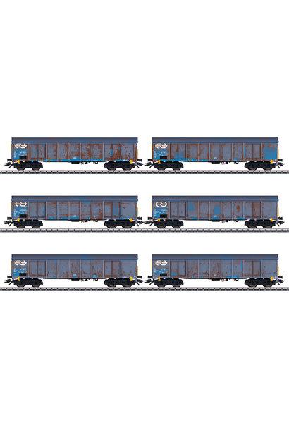 """47189 Set hogeboordwagens """"houtspaandervervoer"""" van de NS"""