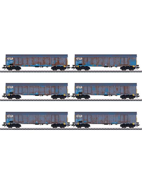 """Märklin 47189 Set hogeboordwagens """"houtspaandervervoer"""" van de NS"""