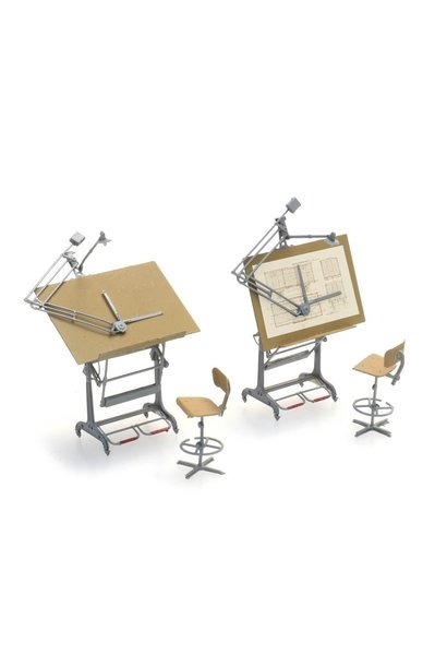 387474 Set tekentafels met stoelen (2x)