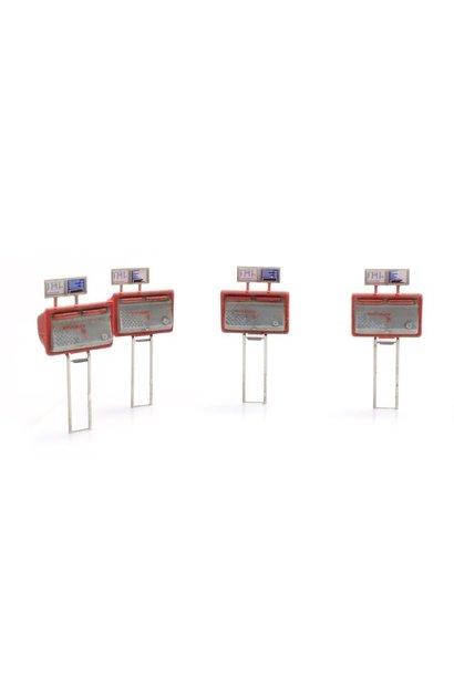 387459 Tweelingbrievenbussen rood-grijs (4x)