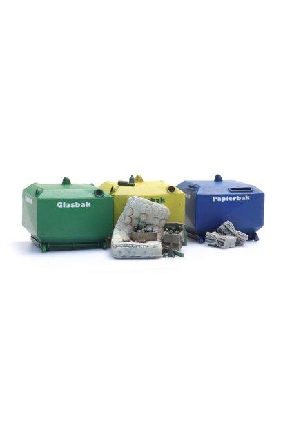 387458 Glasbak en papierbak set (2x glasbak, 1x papierbak en rommel)