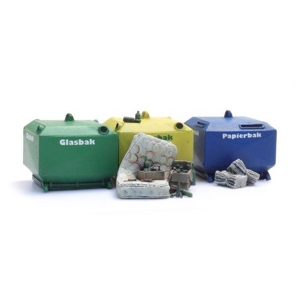 Artitec 387458 Glasbak en papierbak set (2x glasbak, 1x papierbak en rommel)