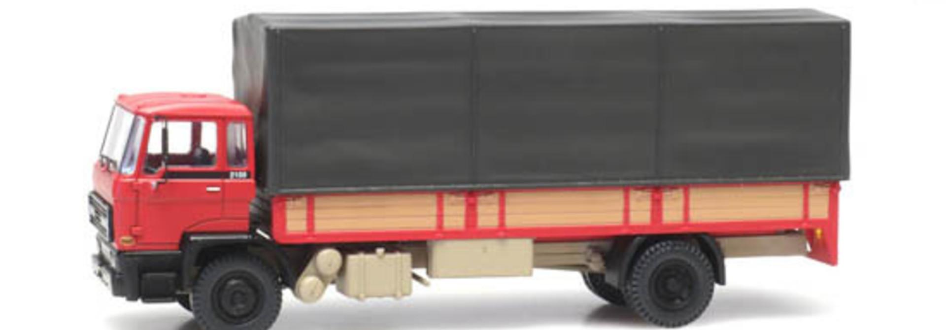 487.052.02 - DAF kantelcabine 1982, open bak, huif, rood