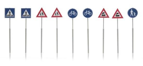 387.215 NL-verkeersborden: voetganger, fiets, trein 9 stuks-1