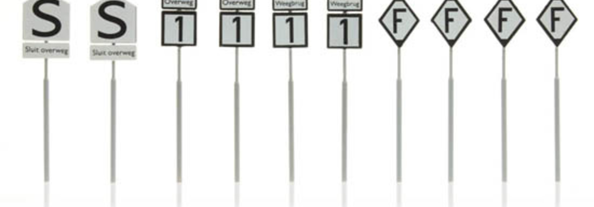 387.210 NS-borden: waarschuwing overweg weegbrug 10 stuks