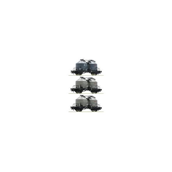 Roco 76093 driedelige set met silowagens van de DB