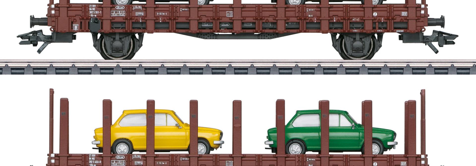 46404 Nederlandse rongenwagens beladen met  DAF66  van de NS
