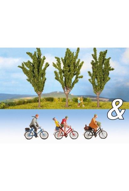 """94009 Ausschmückungs-Set """"Fahrradfahrer & Pappeln"""""""