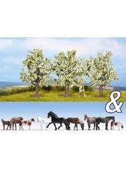 "NOCH 94003 Ausschmückungs-Set ""Pferde & Obstbäume"""