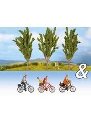 """NOCH 94005 Ausschmückungs-Set """"Fahrradfahrer & Pappeln"""""""