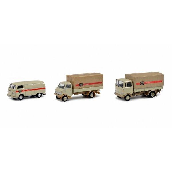 Schuco driedelige set 1:87 H0 met ''stückgut'' transporters