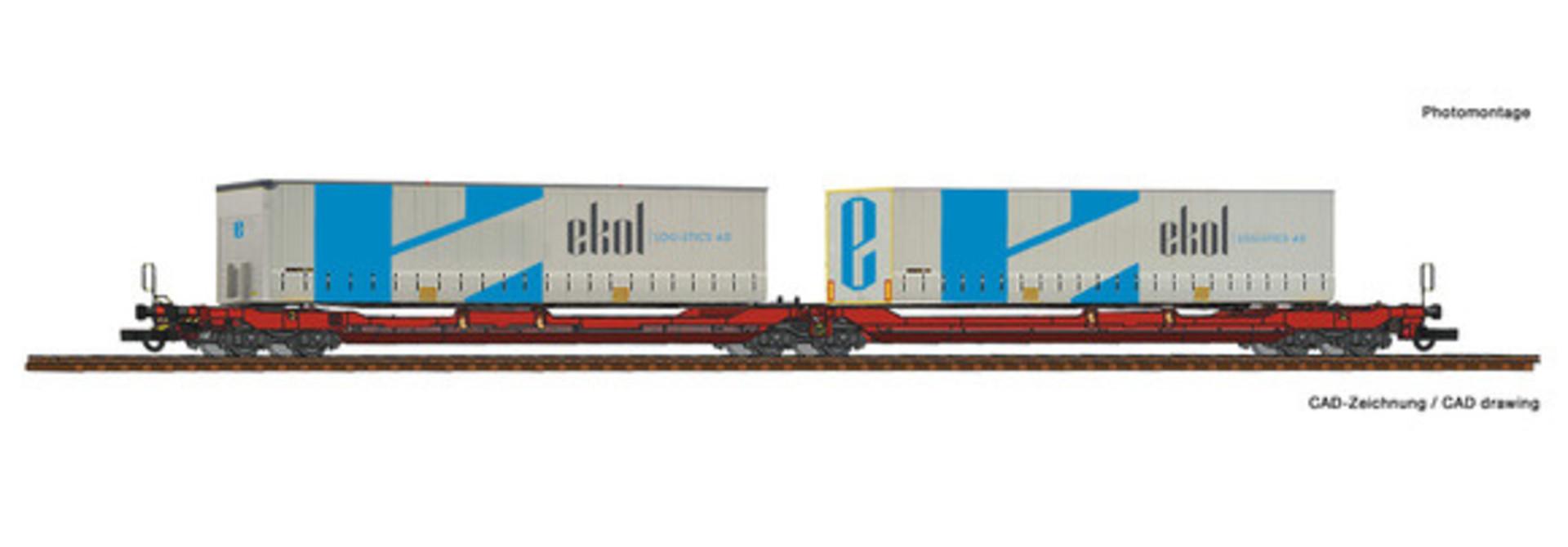 77386 Dubbele containerwagen T3000e + Ekol wissellaadbakken