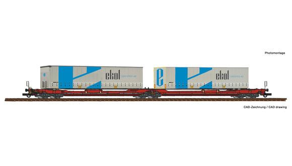 77386 Dubbele containerwagen T3000e + Ekol wissellaadbakken-1