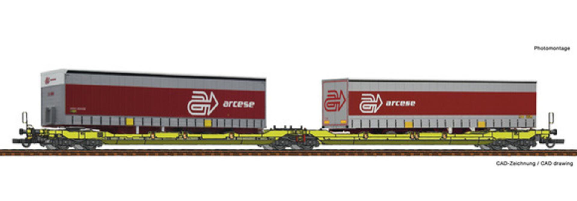 Dubbele containerwagen T3000e + Arcese trailer