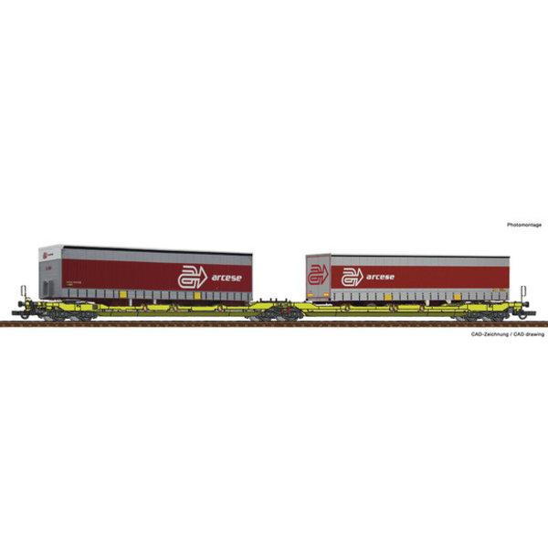 Roco Dubbele containerwagen T3000e + Arcese trailer