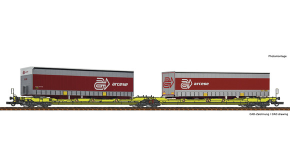 Dubbele containerwagen T3000e + Arcese trailer-1