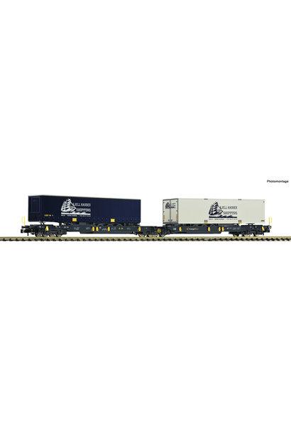 825012 Dubbele gelede containerwagen