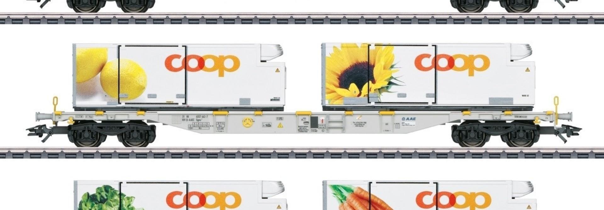 47461 Containerwagenset ''COOP'' driedelig