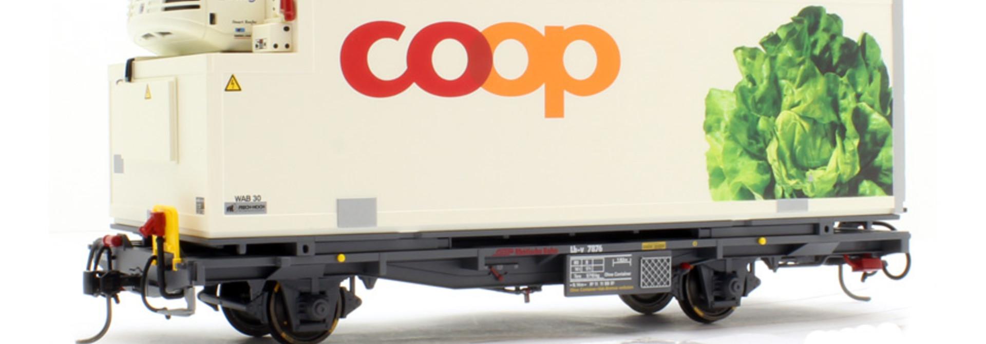 """RhB Lb-v 7876 Containerwagen """"Coop"""" Kopfsalat"""