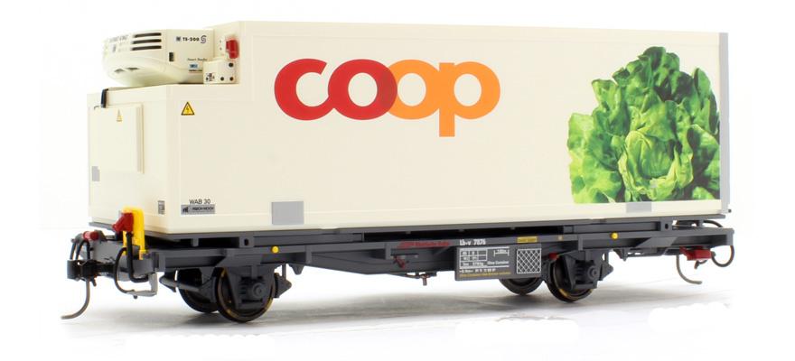 """RhB Lb-v 7876 Containerwagen """"Coop"""" Kopfsalat-1"""