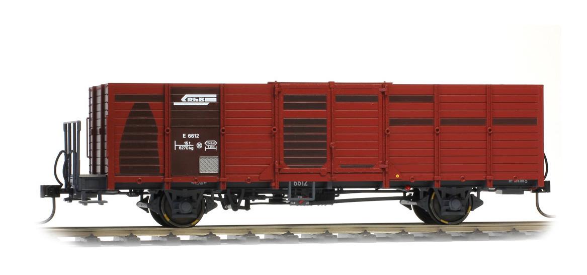 9451115 RhB E 6635 Holzwand-Hochbordwagen dunkelbraun-1