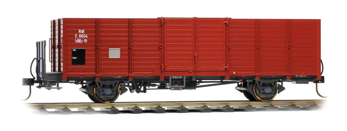 9451104 RhB E 6604 Holzwand-Hochbordwagen dunkelbraun-1