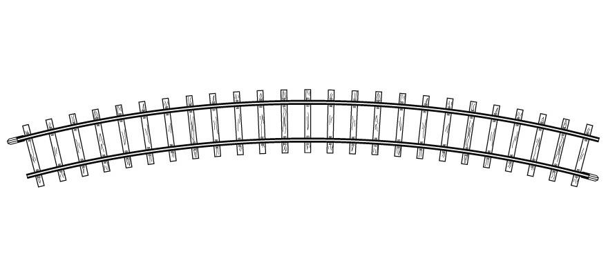 4240000H0m gebogenes Gleis, R 376 mm, 30°, VPE 10 Stck.-1