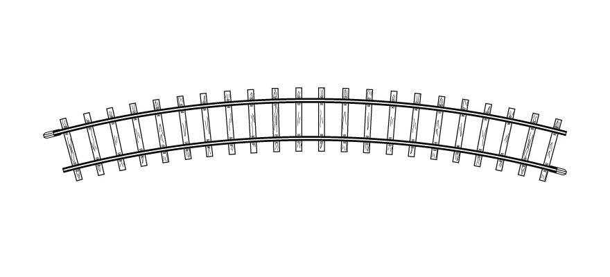 4230000 H0m gebogenes Gleis, R 330 mm, 30°, VPE 10 Stck.-1