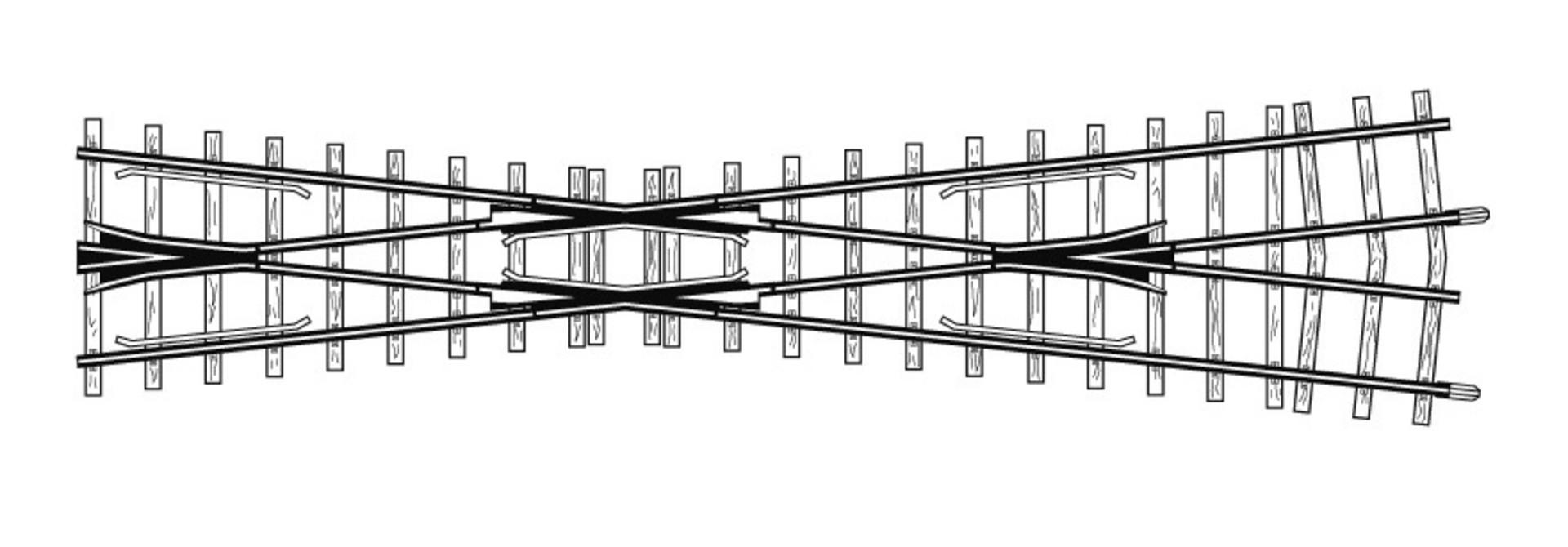 4219000 H0m 12° Kreuzung gekürzt, 182 mm