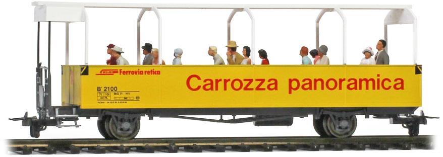 3280110 RhB B 2100 offener Aussichtswagen mit Preiser Figuren-1