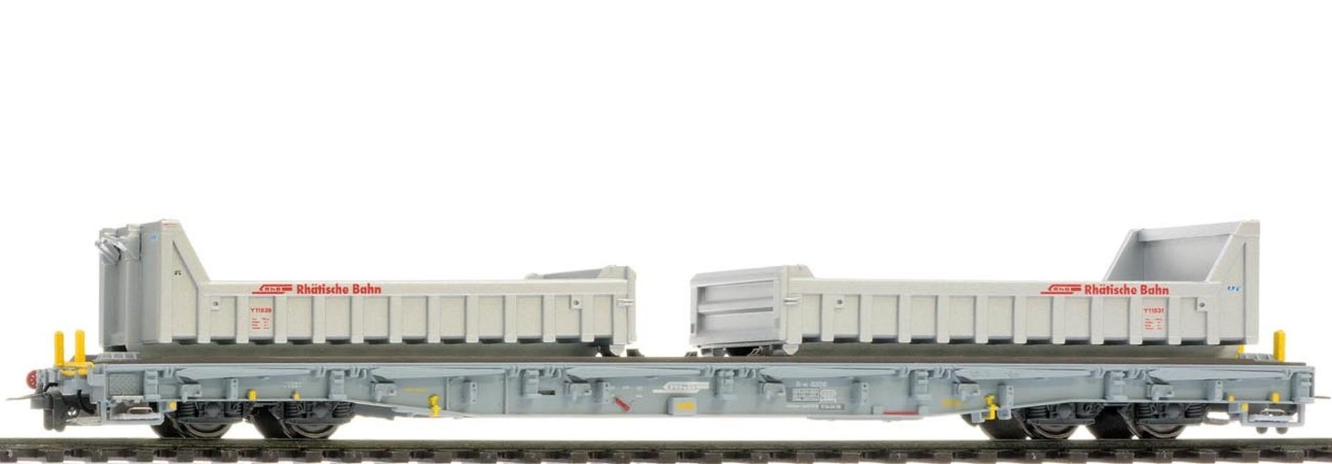 2291119 RhB R-w 8209 ACTS-Tragwagen mit Wuhrsteinmulden
