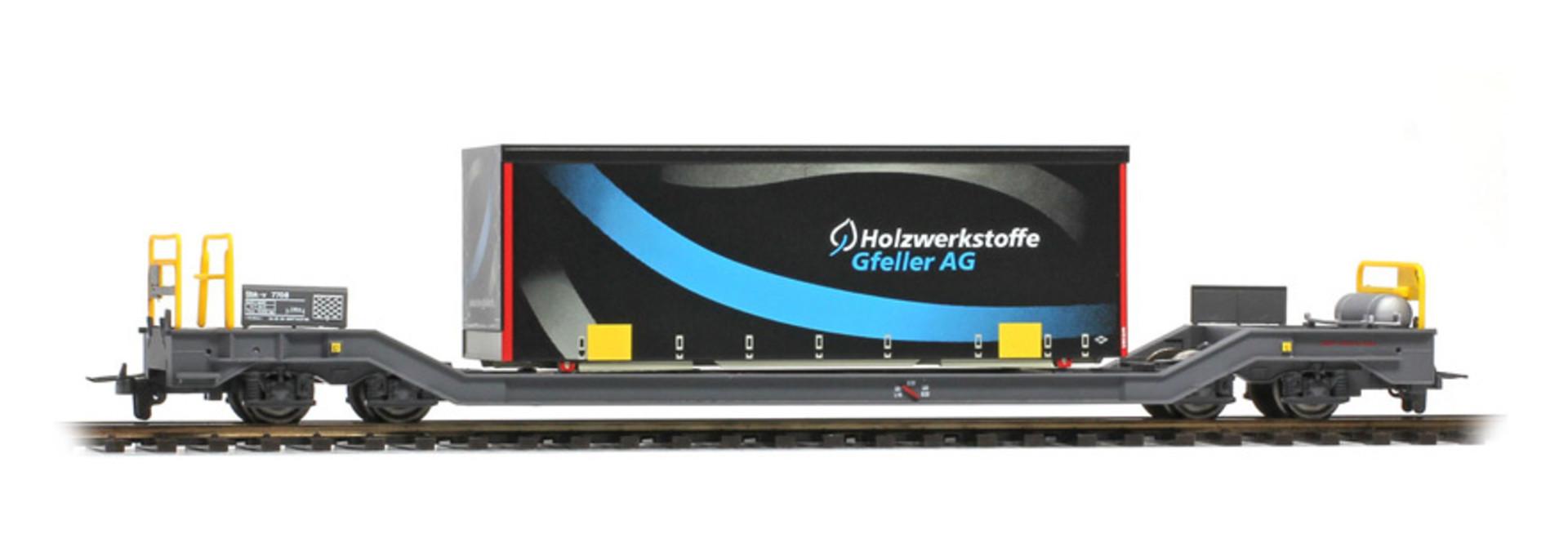 """2289168 RhB Sbk-v 7708 mit Planenbehälter """"Gfeller"""" schwarz"""