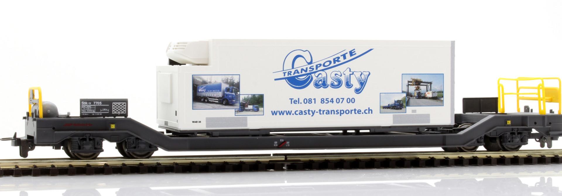 "2289115 RhB Sbk-v 7705 mit Kühlcontainer ""Casty"""