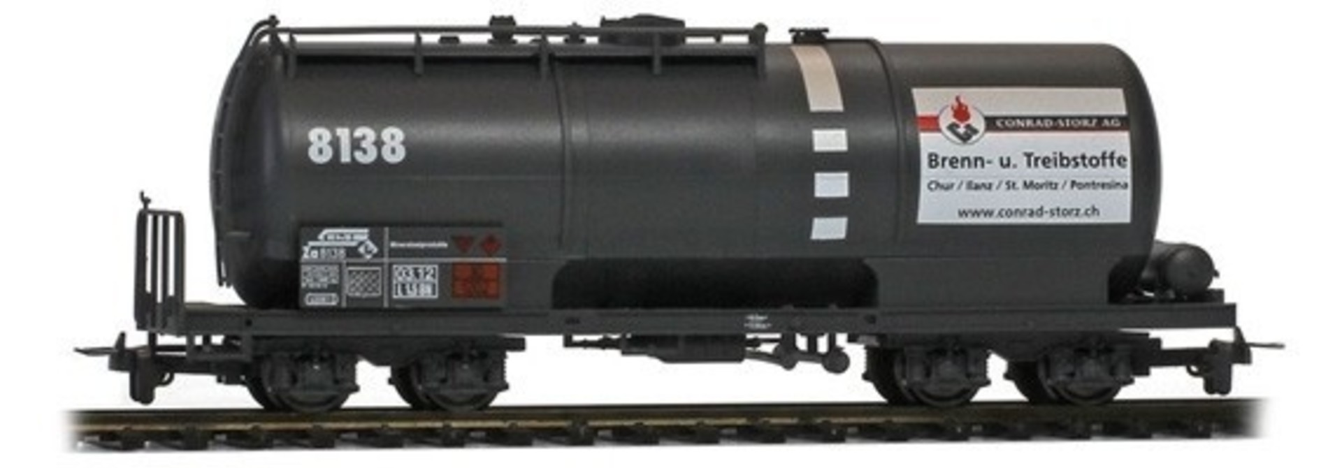 """2285138 RhB Za 8138 Kesselwagen mit Plakat """"Conrad-Storz"""""""