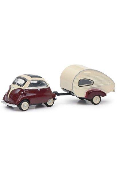 BMW Isetta + caravan, rood/wit