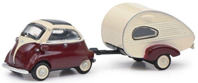 BMW Isetta + caravan, rood/wit-1