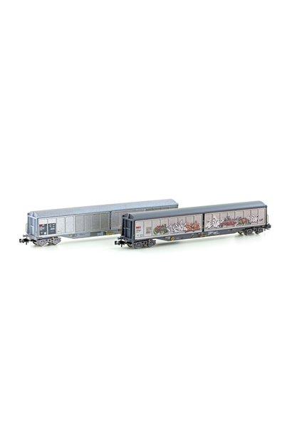 H23471 Spoor N 2 st. Set schuifwandwagens Habils van de SBB, tijdperk V-VI