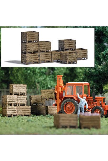 1980 Spoor H0 Zehn Kisten aus echtem Holz für Landwirtschaft und Industrie