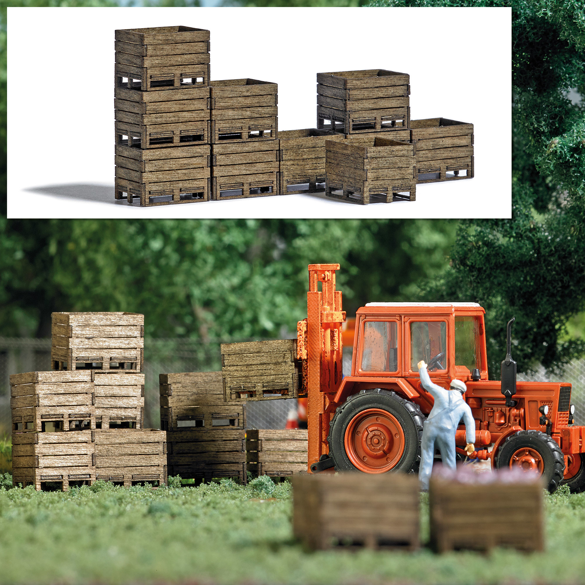 1980 Spoor H0 Zehn Kisten aus echtem Holz für Landwirtschaft und Industrie-1